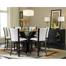 Glass Dining Table Set 4 Chairs Round Glass Top Counter Height Dining Set 5pc Set Table 4 Counter