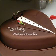 Write Name On Chocolate Heart Cake For Husband Happy Birthday Wishes