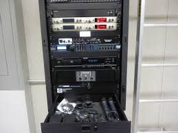 sound system rack. additional storage space in the turnkey pa rack is helpful to press box personnel sound system d