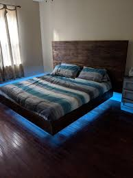 Bed With Lights Made A Floating Bed With Led Lights Pics