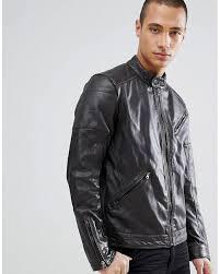 barney s originals brown real leather biker jacket for men