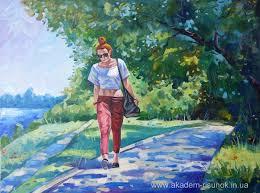 Композиция работы в материале Пейзаж с фигурой человека Холст  Холст масло краски семестровая работа студентки ДНУ Обучение