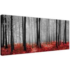 black white and red trees panoramic forest canvas wall art black display gallery item woodlands