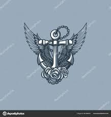 морской якорь с крыльями и розы монохромный тату стиль