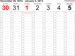 Weekly calendar 2013 for Excel - 4 free printable templates