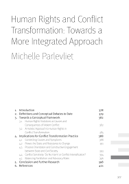 Pdf Human Rights And Conflict Transformation Towards A More