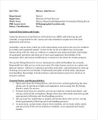 9 Dietary Aide Job Description Samples Sample Templates