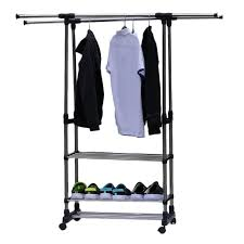 Portable Coat Rack Wheels Unique Adjustable Telescopic Rolling Clothing Garment Shoe Rack Portable