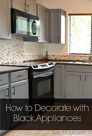Black Granite Countertops With Tile Backsplash Awesome Black Appliances And White Or Gray Cabinets How To Make It Work