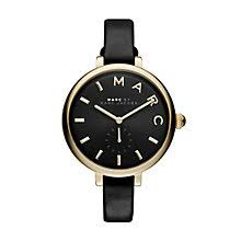 marc jacobs watches ernest jones marc jacobs sally ladies gold tone black strap watch product number 3910083