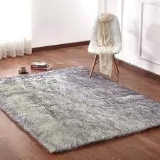 faux rug faux fur gray area rug large faux sheepskin rug ikea