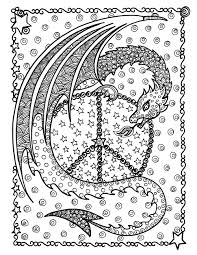 Peace Dragon Dragons Adult Coloring Pages