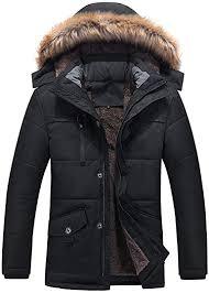 ZEFOTIM <b>Men's</b> Winter Medium Length Zipper Plus Size Thickened ...