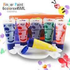 6 colors 45ml colourful brand non toxic washable paint finger painting for kids children water