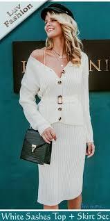 White Sashes Top + Skirt Set | Knit <b>sweater</b> dress, Dresses ...