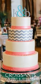Gray Coral Chevron Modern Wedding Cake Modern Wedding Cakes