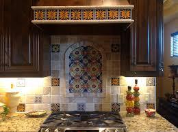 Decorative Kitchen Backsplash Talavera Backsplashlike Decorative Tiles Interspersed With