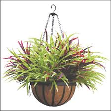 hanging baskets with artificial flowers to enlarge