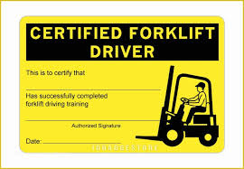 Free Forklift Certificate Template Forklift Certification Card Template Free Of Certified