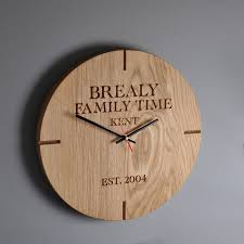 impressive large personalized wall clocks personalised wooden oak clock by the rope company