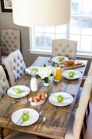 kitchen table with food. DIY Farmhouse Style Dining Table | Table, And Tables Kitchen With Food