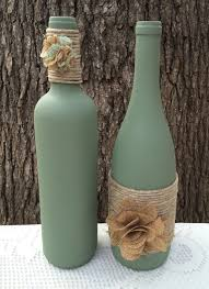 Diy Wine Bottle Projects Sage Hand Painted Wine Bottles With Twine And Burlap Flowers Set