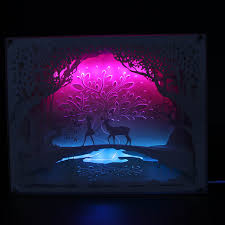 Small Picture Free Shipping 1Piece Fairytales Illuminated Paper Cut Light Box 3D