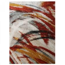 brush stroke orange abstract rug 1
