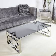 plaza contemporary stainless steel smoked glass lounge coffee table
