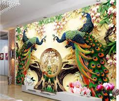 Large Painting Home Decor Peacock green ...