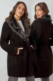yoursclothing plus size womens burdy coat with faux