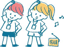 無料イラスト ラジオ体操する子供 パブリックドメインq著作権フリー