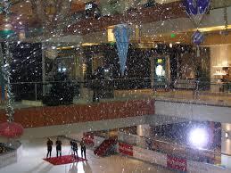 fake snow falling at a simon mall