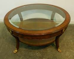 vintage mahogany round coffee table small round mahogany coffee table with glass top brass legs and