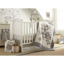image of owl baby quilt gray