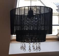 Lampe Kronleuchter Schwarz Glaskristalle
