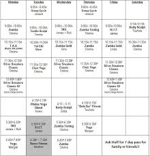 Monthly Class Schedule Elite Fitness Centers