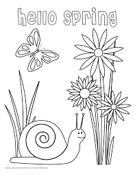 Hello Spring Coloring Pages Printable Coloring Page For Kids