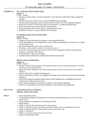 Recreation Supervisor Resume Samples | Velvet Jobs