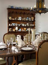 Dinning Rooms:Dining Room Decor With Black China Cabinet And Round Dining  Table And Cream