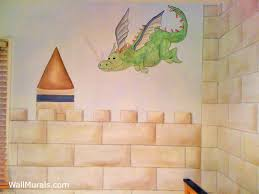 dragon flying over castle mural castle wall mural on castle wall art mural with castle mural examples castle wall muralswall murals by colette