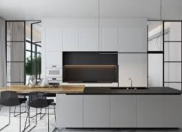 kitchen black and white kitchen cabinets matte dark grey cabinet smooth wooden countertop contemporary