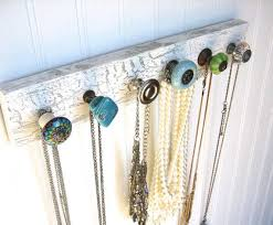 Jewelry Storage / Wall Hooks / Necklace Rack Quot;Beautiful Blues And  Greensquot; #622 Antique Doors