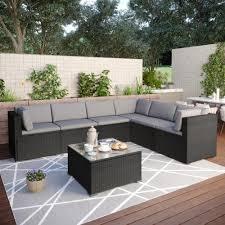 clihome outdoor furniture 7 piece metal
