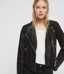 womens conroy leather biker jacket ink image 1