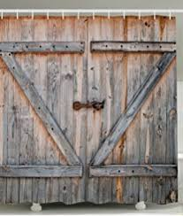 vintage garage doorsAmazoncom Vintage Wood Barn Door Shower Curtain by FOOG Rural
