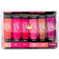 victoria s secret beauty rush satin gloss flavored lip shine coffret 6 pc box set