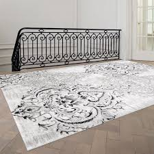 grey and white area rug theme