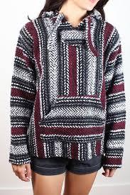 rug outfits vintage 1990s baja hoo gray black burdy red striped hooded