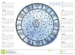 Zodiac Sign Horoscope Circle 2016 Year Stock Vector
